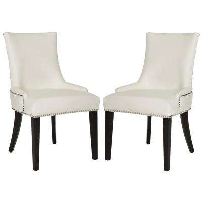 Lester White Leather/Espresso 19 in. H Dining Chair (Set of 2)