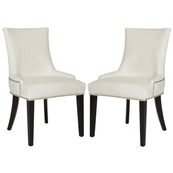 Safavieh Lester White Leather/Espresso 19 in. H Dining Chair (Set of 2)