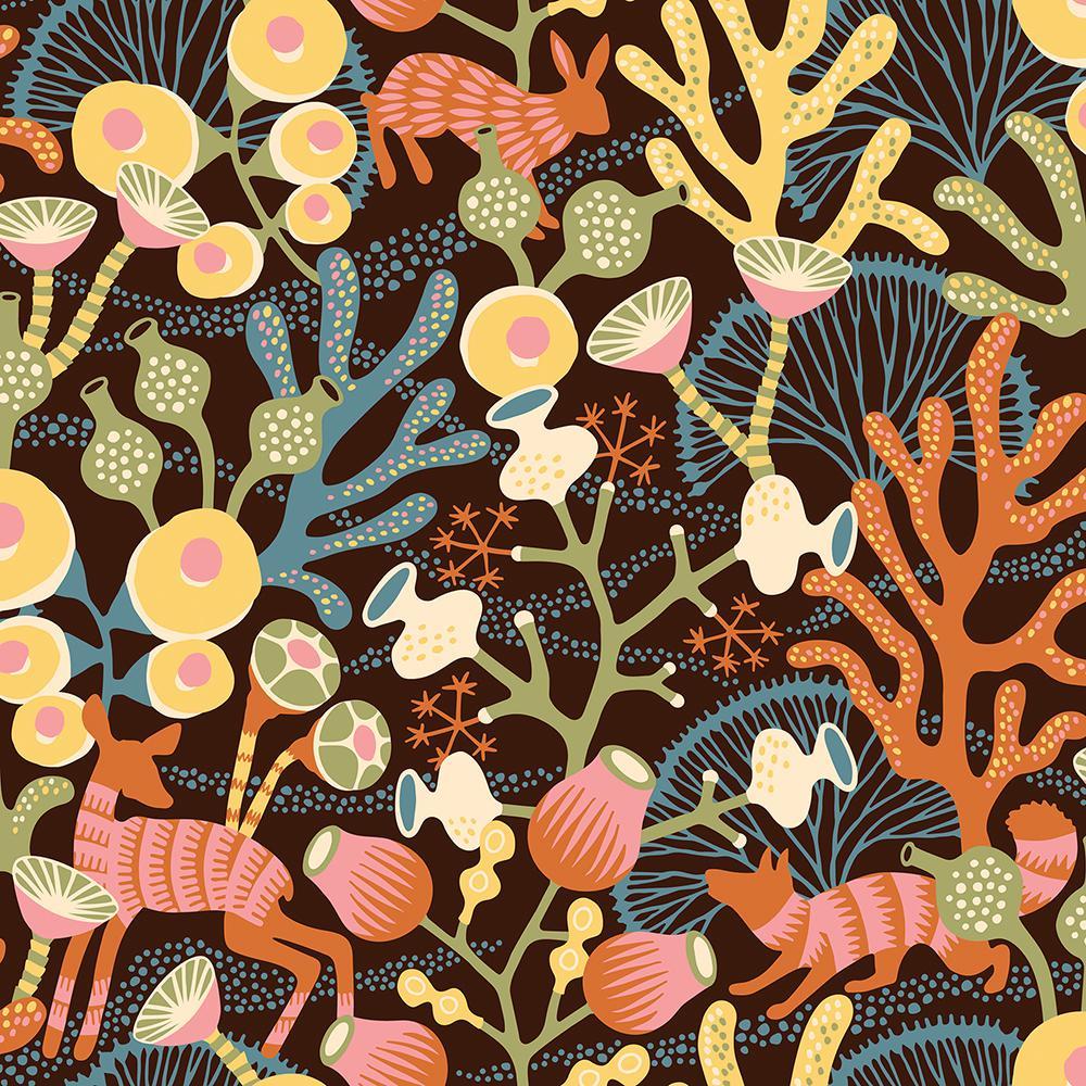 8 in. x 10 in. Korall Orange Meadow Wallpaper Sample
