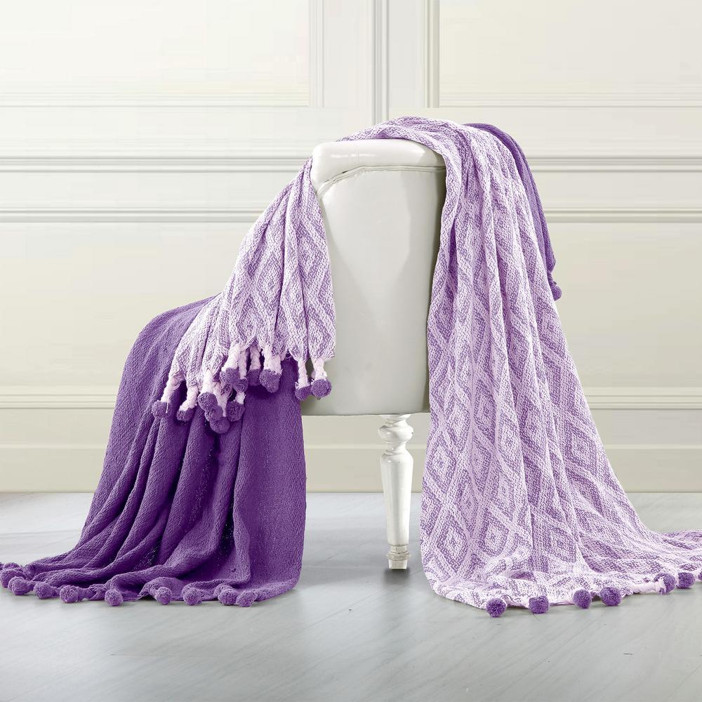 2-Pack Diamond Maze Pom Pom Majesty Purple 100% Cotton Throw