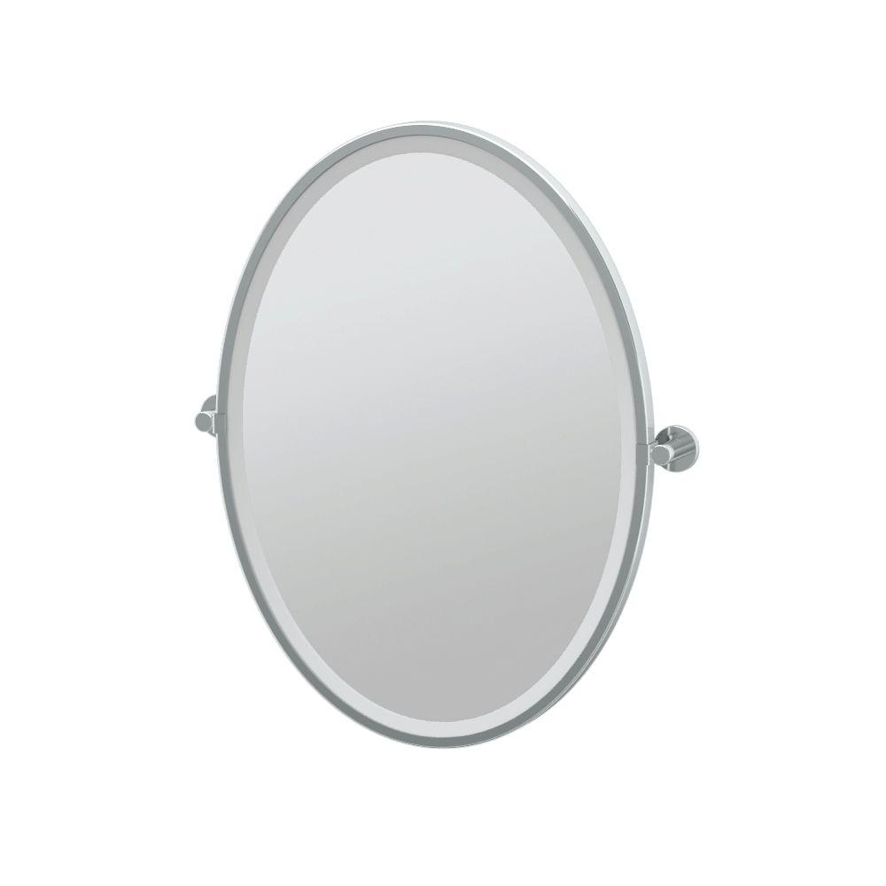 Channel 24 in. x 28 in. Framed Single Oval Mirror in