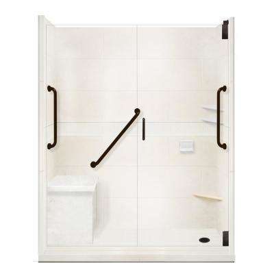Classic Freedom Grand Hinged 30 in. x 60 in. x 80 in. Right Drain Alcove Shower Kit in Natural Buff and Black Pipe