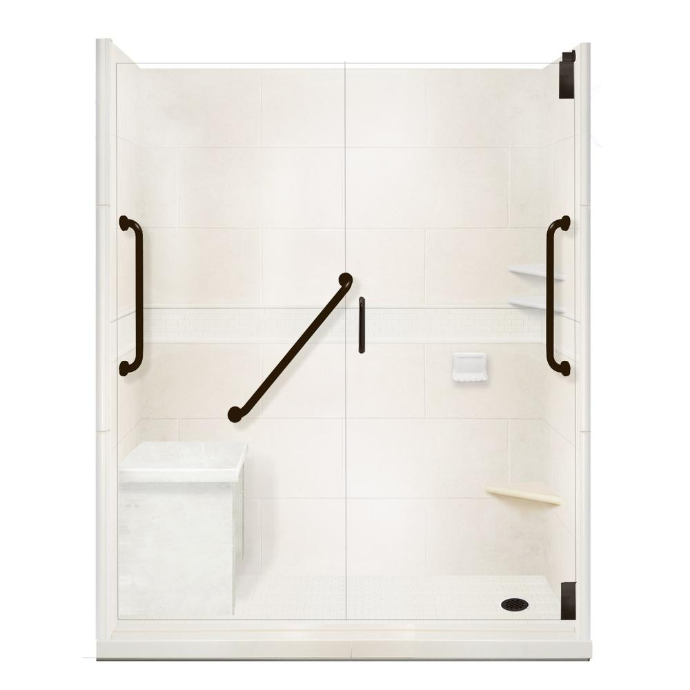 American Bath Factory Classic Freedom Grand Hinged 34 in. x 60 in. x 80 in. Right Drain Alcove Shower Kit in Natural Buff and Black Pipe