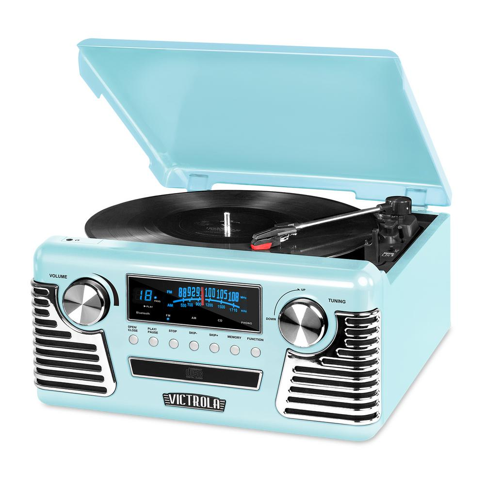 Retro Record Player with Bluetooth and 3-Speed Turntable Victrola 50's inspired Record Player is designed to be blast from the past. But don't let it's fun retro design fool you. It's loaded with all music playing technology of the past 70 years.