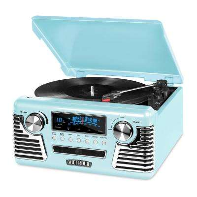 Retro Record Player with Bluetooth and 3-Speed Turntable
