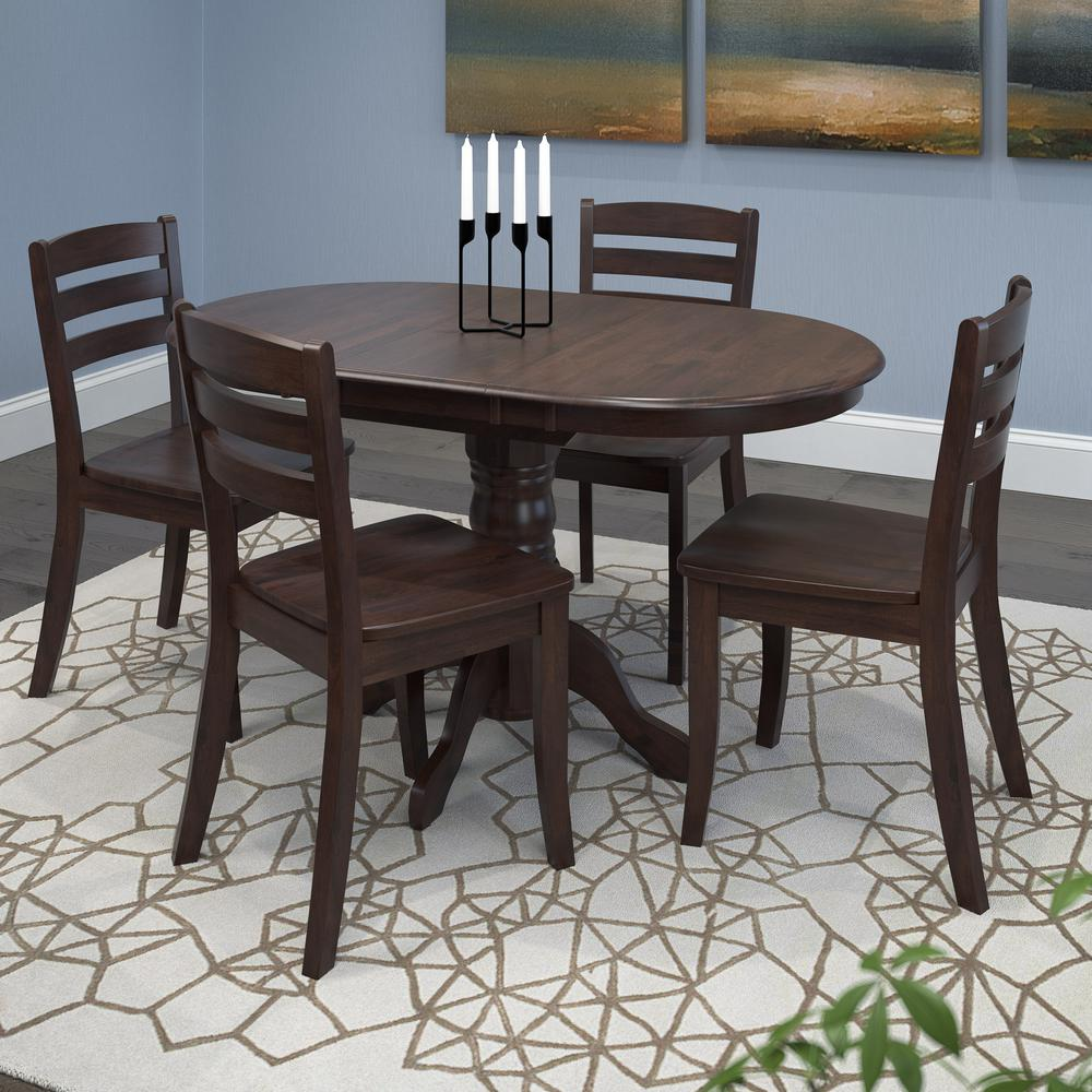 corliving dillon 5 piece extendable cappuccino stained solid wood