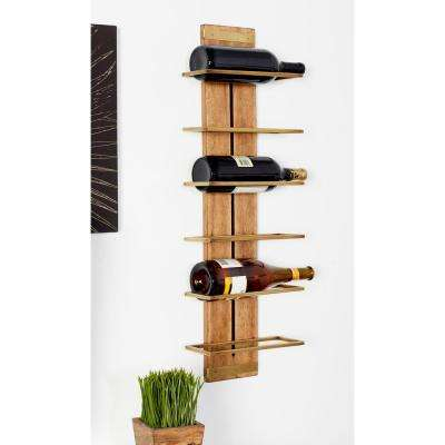 Brown Wood and Iron 6-Bottle Wall Mounted Wine Rack