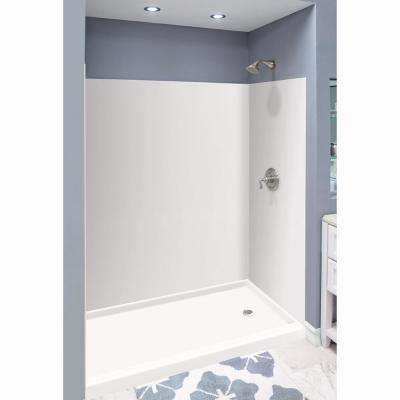 Expressions 36 in. x 60 in. x 72 in. 3-Piece Easy Up Adhesive Alcove Shower Wall Surround in White