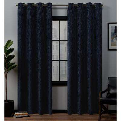 Forest Hill 52 in. W x 96 in. L Woven Blackout Grommet Top Curtain Panel in Peacoat (2 Panels)