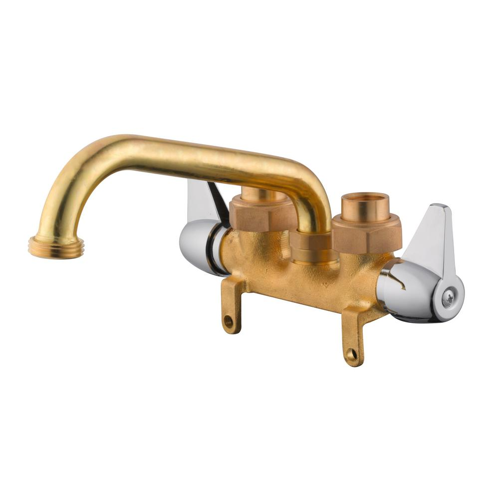 2 Handle Laundry Faucet In Rough Brass And Chrome