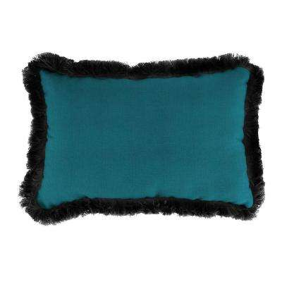 Sunbrella 9 in. x 22 in. Spectrum Peacock Lumbar Outdoor Pillow with Black Fringe