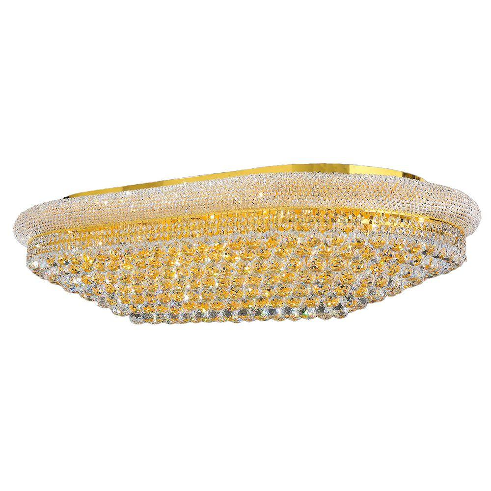 Worldwide Lighting Empire Collection 28-Light Gold and Crystal Ceiling Light
