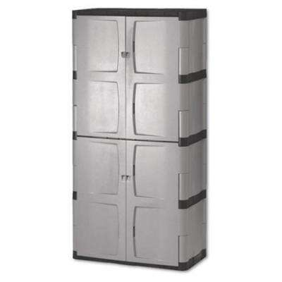 72 in. H x 36 in. W x 18 in. D Gray Resin Full Double Door Cabinet