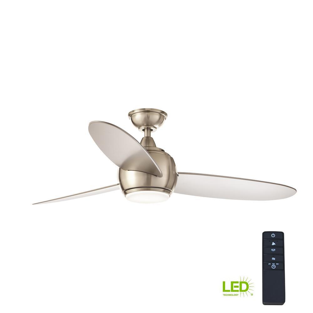 home decorators collection hedley 54 in integrated led indoor brushed nickel ceiling fan with. Black Bedroom Furniture Sets. Home Design Ideas