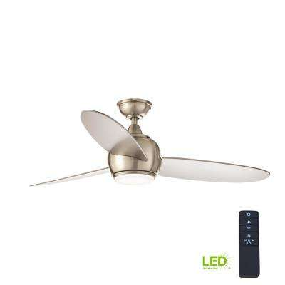 Hedley 54 in. Integrated LED Indoor Brushed Nickel Ceiling Fan with Light Kit and Remote Control