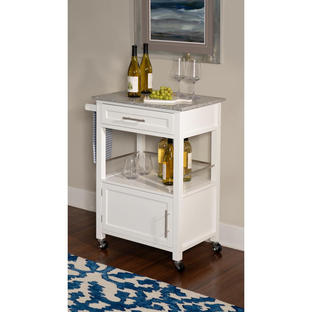 Linon Home Decor Mitchell White Kitchen Cart With Storage 464808wht01u The Home Depot