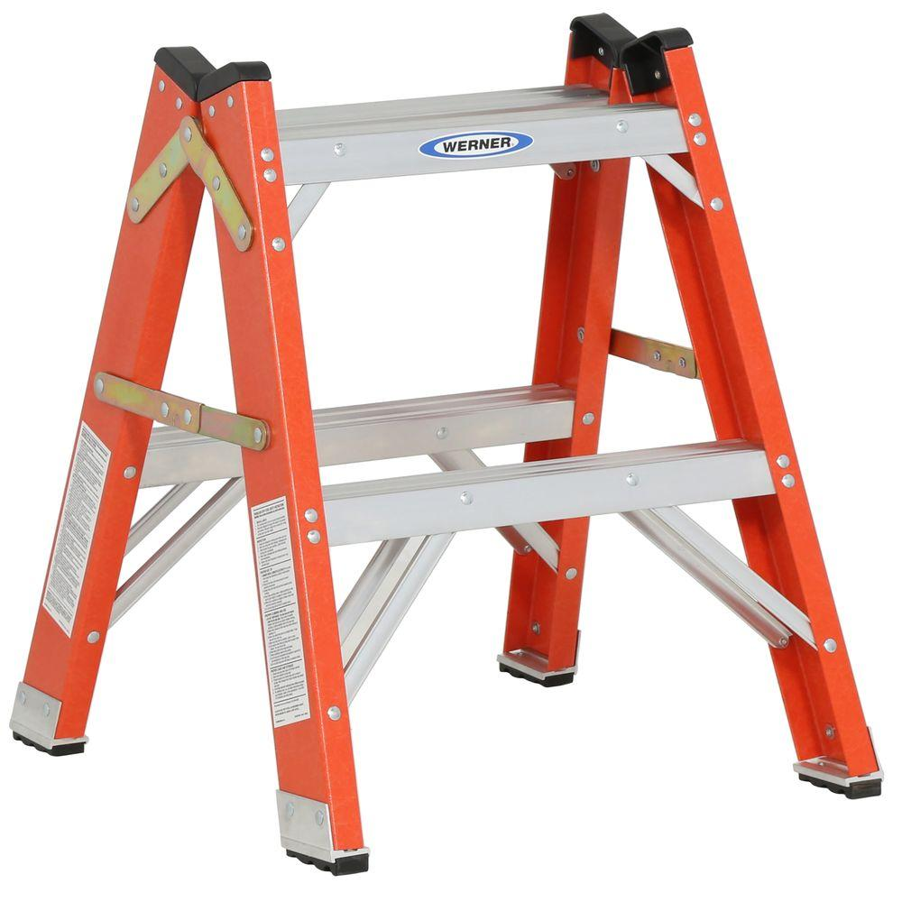 Werner 2 Ft Fiberglass Twin Step Ladder With 300 Lbs Load Capacity Type Ia Duty Rating T6202 The Home Depot