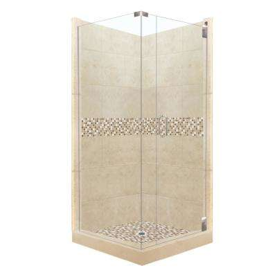 Roma Grand Hinged 38 in. x 38 in. x 80 in. Right-Hand Corner Shower Kit in Brown Sugar and Satin Nickel Hardware