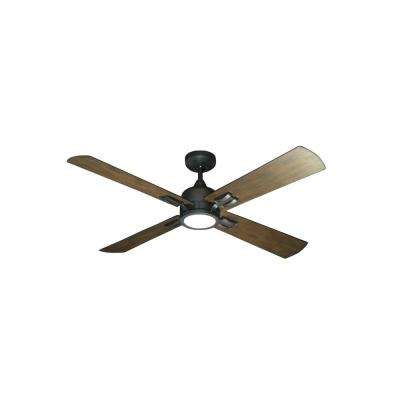 Captiva 52 in. LED Oil Rubbed Bronze Ceiling Fan and Light with Remote Control