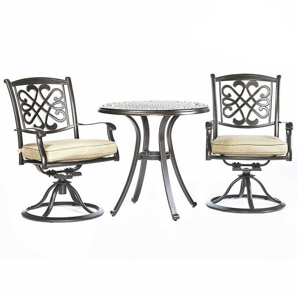 Brown 3-Piece Cast Aluminum Round 28.6 in. H Table Outdoor Bistro Set w/ Swivel Rocker Dining Chairs & Beige Cushions