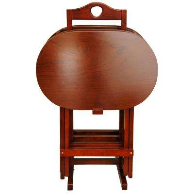 Oriental Furniture 17 in. x 11 in. Rosewood TV Tray in Honey (4-Pack)