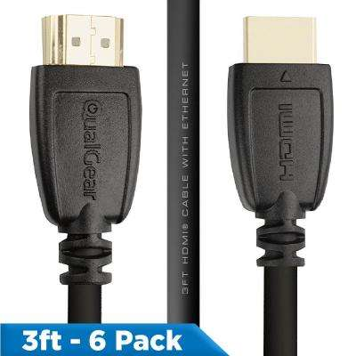 High Speed HDMI 2.0 Cable with Ethernet, 3 ft., (6-Pack)