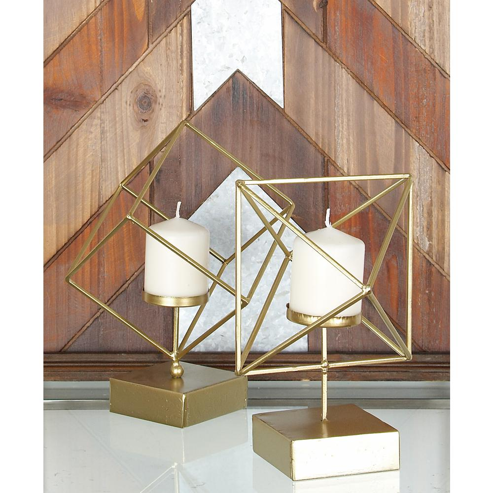 Gold Iron Tilted Open Cube Candle Holders (Set of 2)