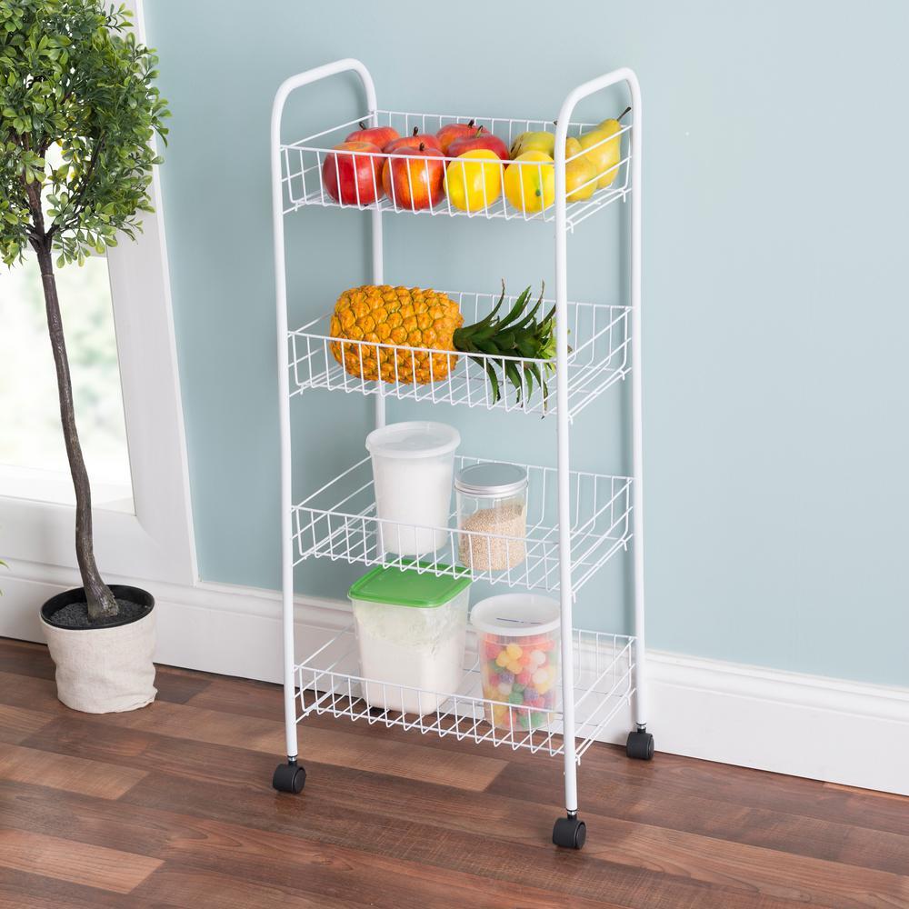 HOME basics White Kitchen Cart-FB41258 - The Home Depot