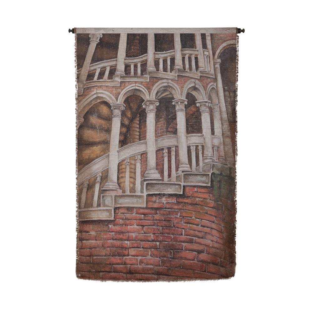 """Multicolor """"House withLadder"""" Wall Tapestry"""