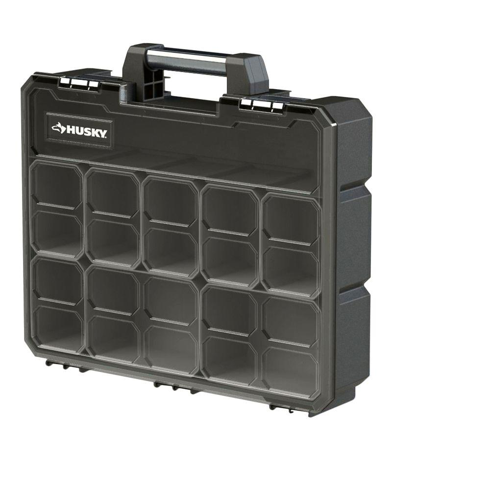 Husky 16-1/2 in. 8-Bin Deep Pro Small Parts Organizer, Black