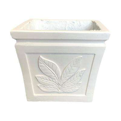 10.24 in. x 10.24 in. x 8.66 in. Light Cream Lightweight Concrete Leaf Embossed Flared Square Seashell Small Planter