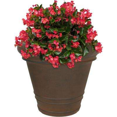 16 in. Rust Crozier Poly Single Flower Pot Planter