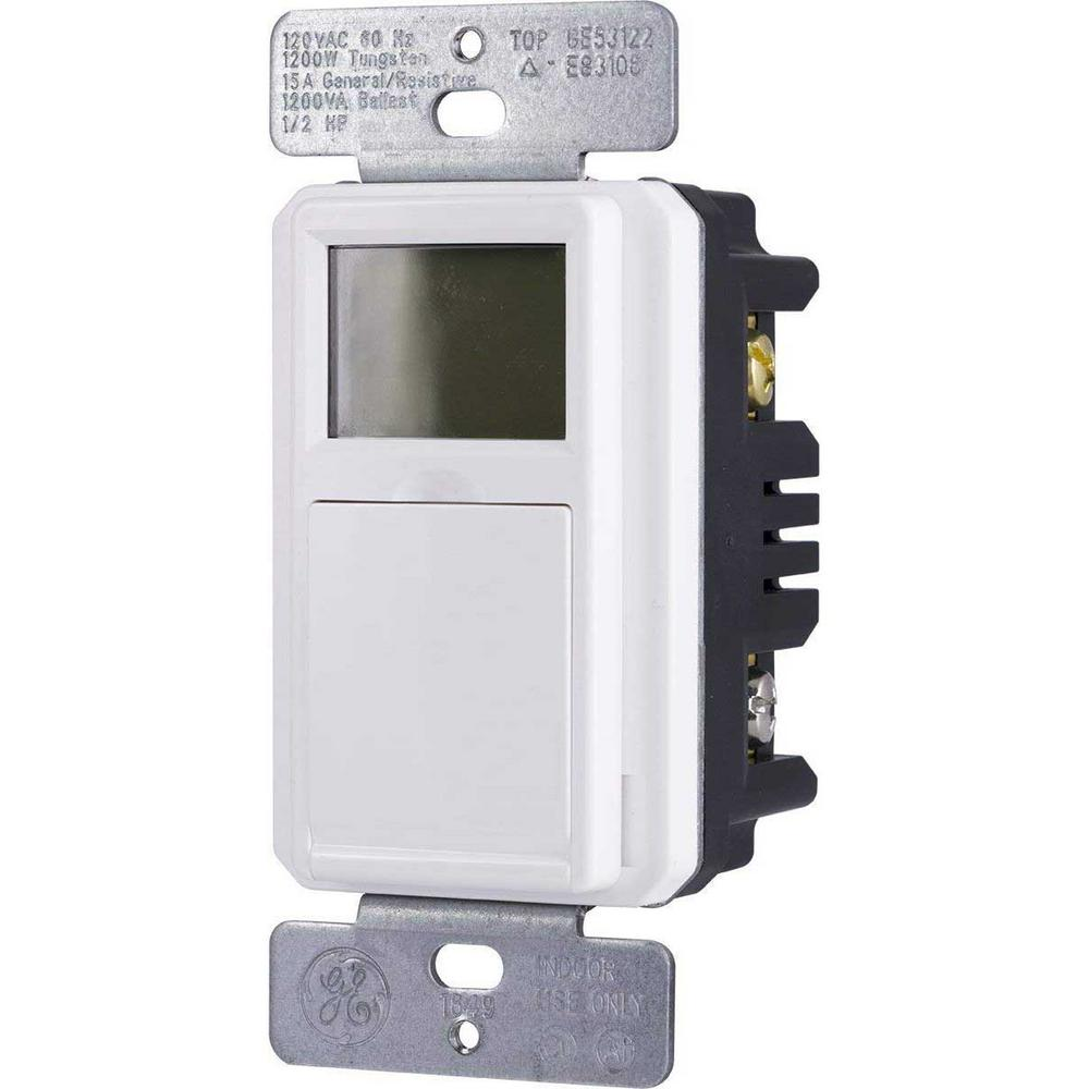 GE 7-Day Programmable Indoor/Outdoor In-Wall Digital Timer ... on