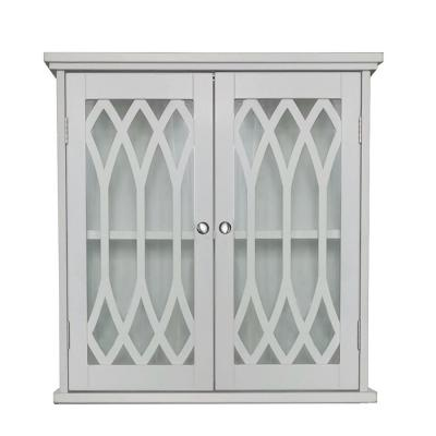 20 in. W x 20 in. H Valletta Wall Mounted White Wood and Glass Medicine Cabinet