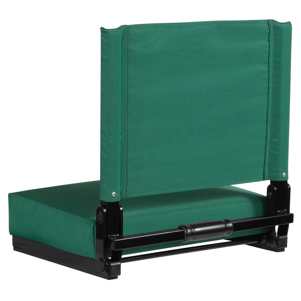 Foldable Stadium Chair with Thick Ultra-Padded Seat in Teal and Bleacher Hook