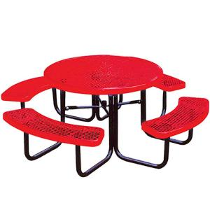 Portable Red Diamond Commercial Park Round Picnic Table by