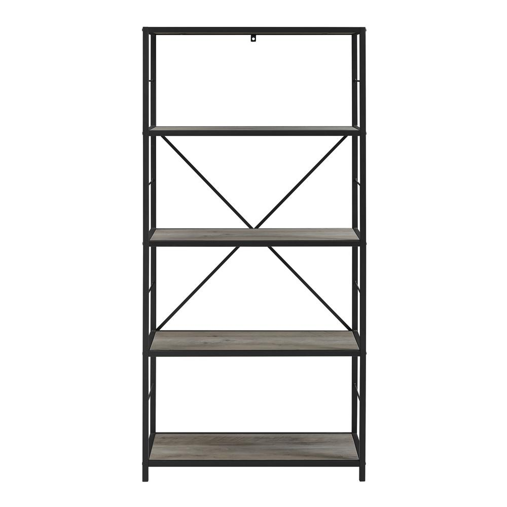 Walker Edison Furniture Company 60 In Grey Wash Rustic Metal And Wood Media Bookshelf