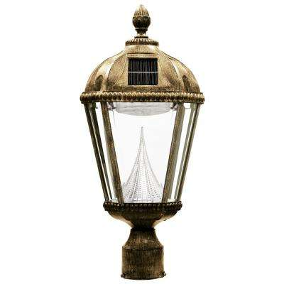 Royal Solar Weathered Bronze Outdoor Post Light on 3 in. Fitter Mount