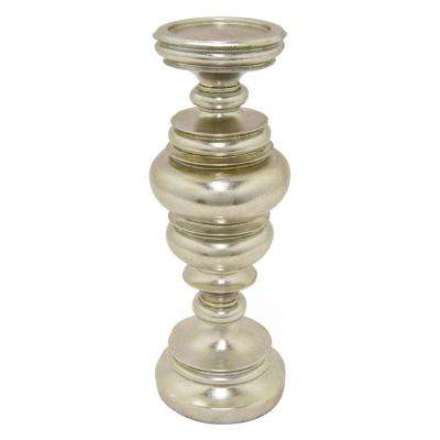 14 in. Decorative Silver Resin Candleholder in Silver