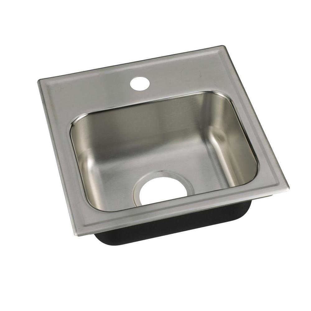Stylist Series 18 Gauge Stainless Steel 15 in. 1-Hole Drop-in Bar Sink
