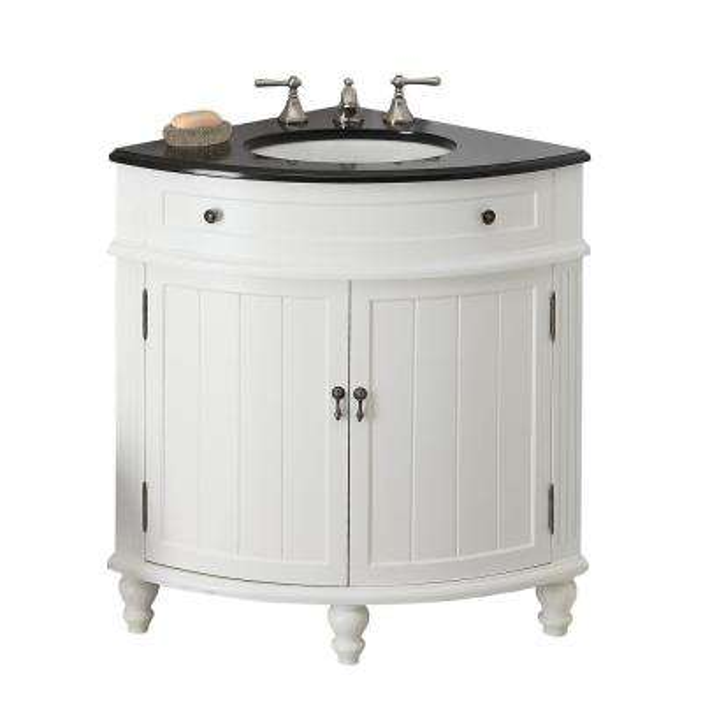Thomasville 24 in. W x 24 in. D x 34.5 in. H in. Bath Vanity in White with Granite Vanity Top in Black with White Basin