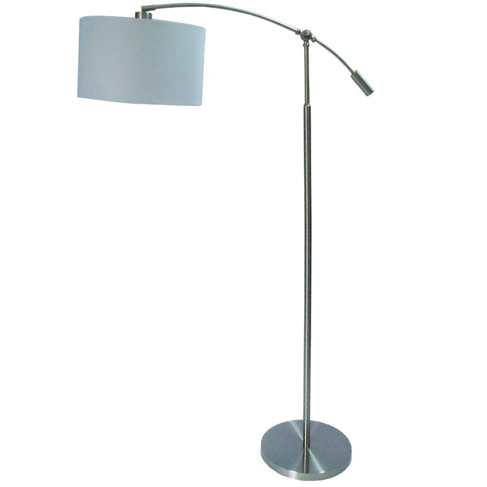 Hampton Bay 63.75 In. Brushed Steel Adjustable Height Title 20 Arc Lamp