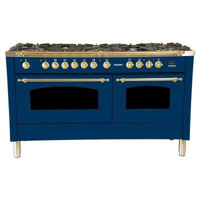 60 in. 6 cu. ft. Double Oven Dual Fuel Italian Range with True Convection, 8 Burners, Griddle, Brass Trim in Blue