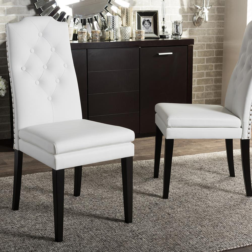 Baxton Studio Dylin White Faux Leather Upholstered Dining Chairs Set Of 2 2pc 6601 Hd The Home Depot
