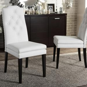 Baxton Studio Dylin White Faux Leather Upholstered Dining