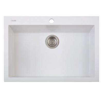 One Series Drop-In Version Granite 29 in. 1-Hole Single Bowl Kitchen Sink in Milk White