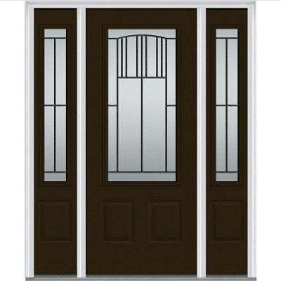 64 in. x 80 in. Madison Right-Hand Decorative 3/4 Lite Primed Fiberglass Smooth Prehung Front Door with Sidelites