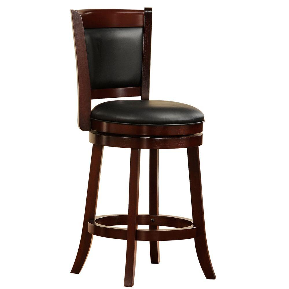 Home Decorators Collection Ashbury 24 in. Cherry Swivel Cushioned Bar Stool