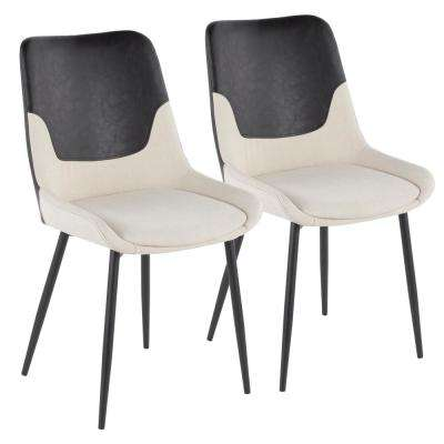 Wayne Industrial Two-Tone Chair in Cream Fabric with Black Faux Leather Accent (Set of 2)