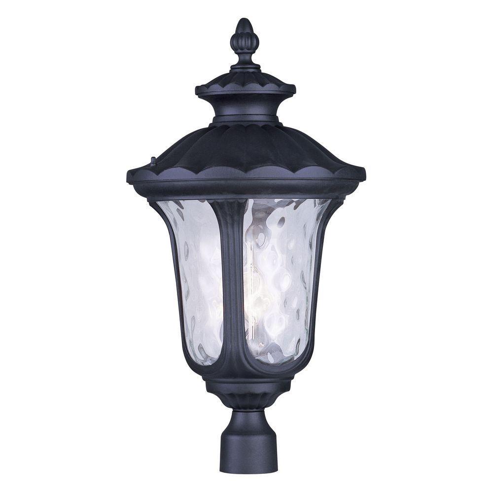 Livex Lighting Oxford 3-Light Outdoor Black Post Head Lantern